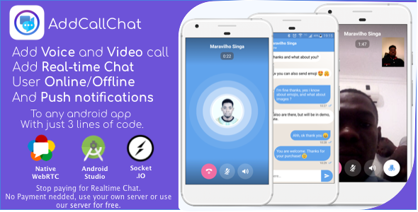 AddCallChat – Add Video/Voice Calls and Realtime Chat to any app, with WebRTC, just few line of code (Nulled) [Latest Version] thumbnail