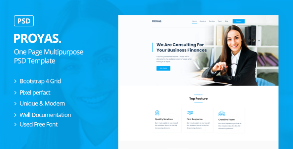 Proyas – One Page Multipurpose PSD Template (Nulled) [Latest Version] thumbnail
