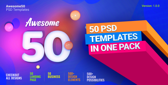 [Free Download] Awesome50 | A Wholesale Collection of 50 Multi Business Landing Pages and Home Pages PSD Template (Nulled) [Latest Version]