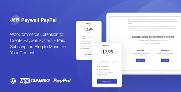 [Free Download] Jeg Paypal Paywall & Content Subscriptions System – WooCommerce Plugin (Nulled) [Latest Version]