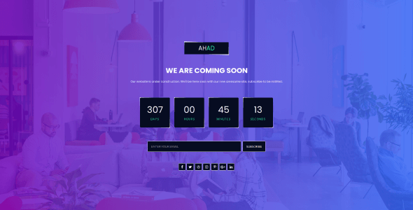 [Free Download] Ahad – Coming Soon Template (Nulled) [Latest Version]