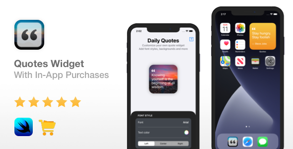 [Free Download] Quotes Widget – iOS 14 & In-App Purchases | Widget app | Xcode 12 (Nulled) [Latest Version]