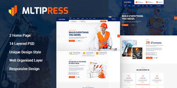 [Free Download] Mltipress – Construction PSD Template (Nulled) [Latest Version]