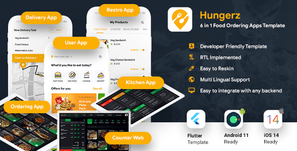 [Free Download] 6 in 1 multi Restaurant Food Ordering App|Food Delivery App|Android+iOS App Template Flutter Hungerz (Nulled) [Latest Version]