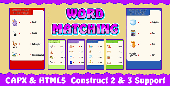 [Free Download] Word Matching Game (CAPX and HTML5) Kids Learning Game (Nulled) [Latest Version]