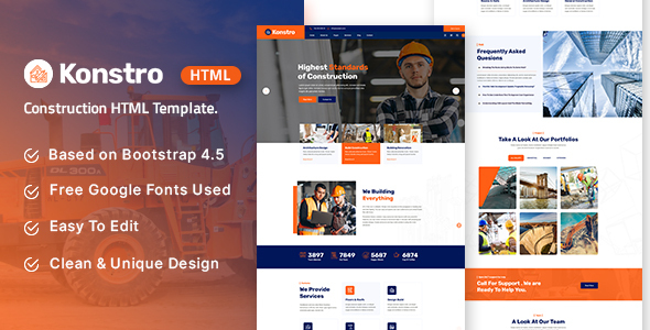 [Free Download] Konstro – Construction HTML Template (Nulled) [Latest Version]