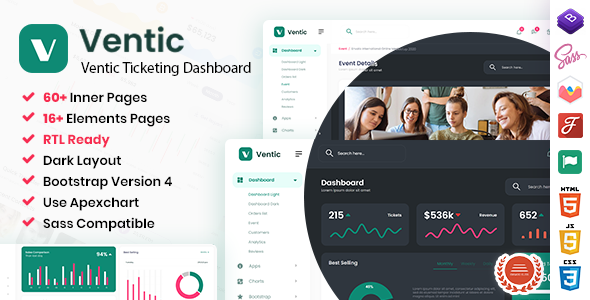 [Free Download] Ventic – Event Ticketing Bootstrap Admin Template (Nulled) [Latest Version]