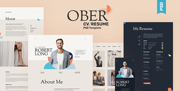 [Free Download] OBER – Resume CV Landing Page PSD Template (Nulled) [Latest Version]