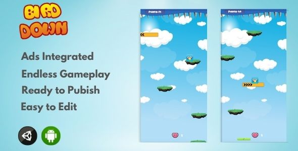 Bird Down 2D – Unity Arcade Game (Nulled) [Latest Version] thumbnail