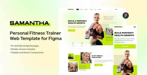 Samantha – Personal Fitness Trainer Template for Figma (Nulled) [Latest Version] thumbnail