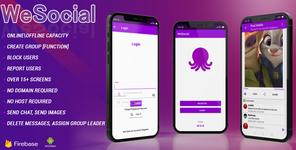WESOCIAL|Facebook and Twitter clone social networking app Android studio + Firebase + Chat (Nulled) [Latest Version] thumbnail