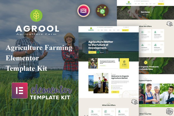 Agrool – Agriculture Farming Elementor Template Kit (Nulled) [Latest Version] thumbnail