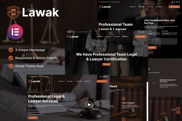 Lawak – Legal & Lawyer Services Elementor Template Kit (Nulled) [Latest Version] thumbnail