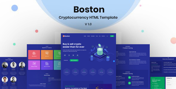 [Free Download] Boston – Bitcoin & Cryptocurrency ICO Landing Page HTML Template (Nulled) [Latest Version]