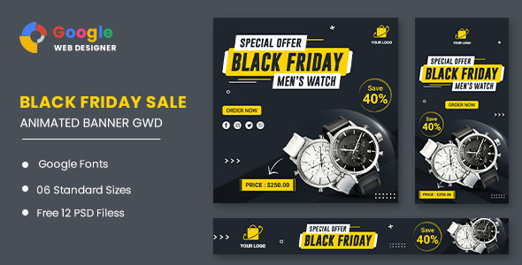 Watch Banner Set Black Friday HTML5 Banner Ads GWD (Nulled) [Latest Version] thumbnail