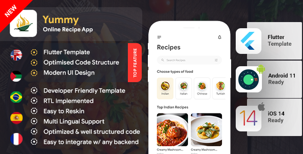 [Free Download] Online Recipes & Cooking Android + iOS App Template | Flutter 2 | Yummy (Nulled) [Latest Version]