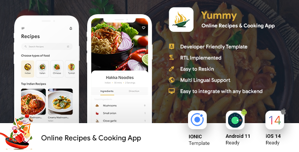 [Free Download] Online Recipes & Cooking Android + iOS App Template | IONIC 5 | Yummy (Nulled) [Latest Version]