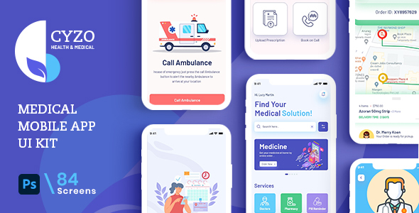 [Free Download] CYZO | Medical App UI Kit for Photoshop (Nulled) [Latest Version]
